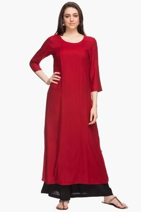 HAUTE CURRY Womens Solid Pintuck Round Neck Kurta