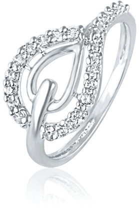 MAHI Mahi Rhodium Plated Pear Elegance Ring With CZ Stones For Women FR1100424R