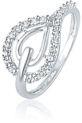 MAHIMahi Rhodium Plated Pear Elegance Ring With CZ Stones For Women FR1100424R