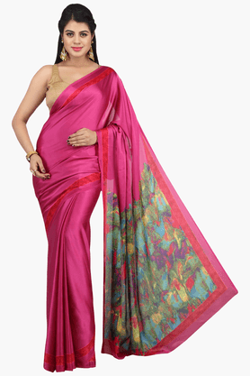 JASHN Womens Solid Saree With Blouse Piece