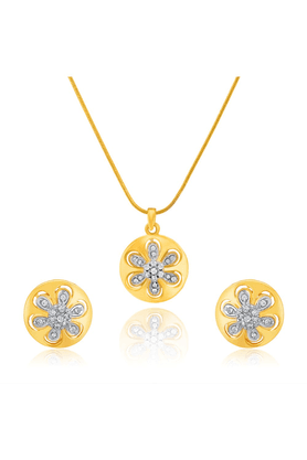 MAHIMahi Gold Plated Enchanted Lotus Pendant Set With Crystals For Women NL1101777G