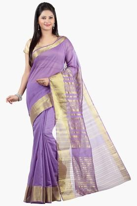 JASHN Womens Stripe Chanderi Saree