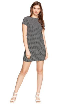 Womens Boat Neck Printed Shift Dress