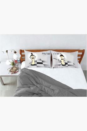 STOA PARIS Black Grey Pillow Fight Check Mate Bed Linen (Bedsheet Set (King)