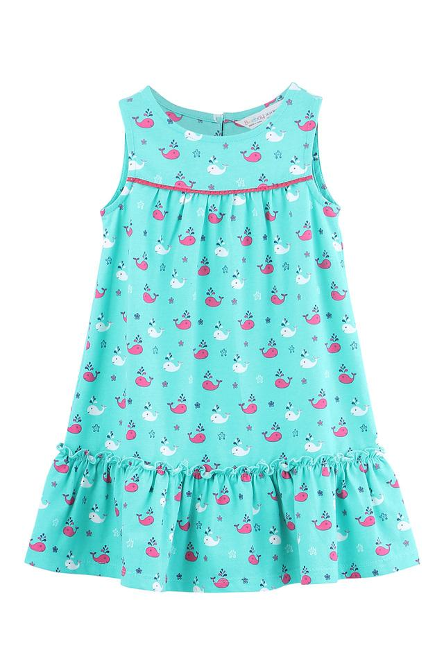 Girls Round Neck Whale Print A-Line Frill Dress