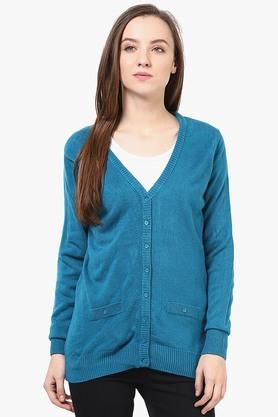 Womens V-Neck Solid Cardigan