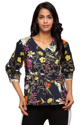 Womens V Neck Floral Printed Shirt