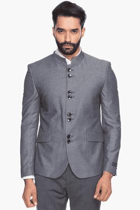 VAN HEUSENMens Full Sleeves Slim Fit Solid Nehru Jacket