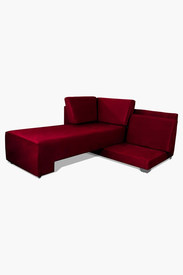 Maroon Fabric Sectional Sofa Bed (Lounger)