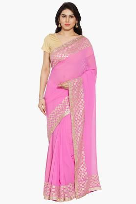 Women Georgette Saree With Gold Embelished Border