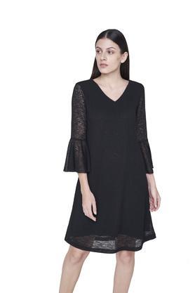 Womens V Neck Solid A-Line Dress