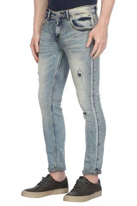 Mens 5 Pocket Stone Wash Distressed Jeans
