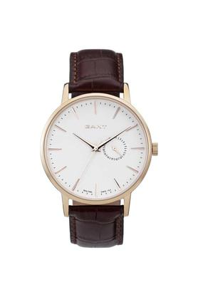 Mens White Dial Leather Analogue Watch - W10846