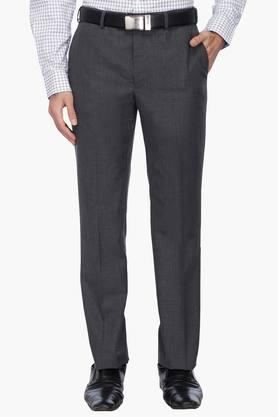 PARK AVENUE Mens Smart Fit Slub Formal Trousers