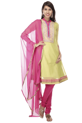 HAUTE CURRY Women Polyester Embroidered Churidar Suits