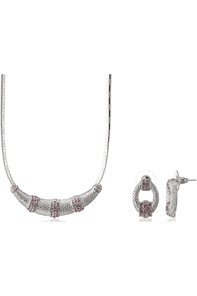 MAHI Rhodium Plated Pink Choker Necklace Set Made With Swarovski Elements For Women NL1104101RBla