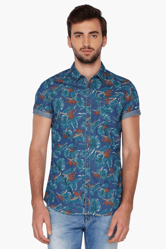6bf56a72a3 Buy BEING HUMAN Mens Half Sleeves Slim Fit Casual Printed Shirt | Shoppers  Stop