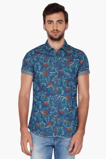 e11b3718 Buy BEING HUMAN Mens Half Sleeves Slim Fit Casual Printed Shirt | Shoppers  Stop
