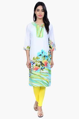 JUNIPERWomen Floral Print Cotton Kurta - 201932825