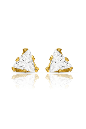 MAHI Mahi Gold Plated Pretty Pyramid Studs With CZ Stones For Women ER1108702G