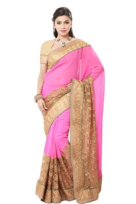 DEMARCAWomen Georgette Saree (Buy Any Demarca Product & Get A Pair Of Matching Earrings Free) - 200875698