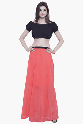 FABALLEY Womens Elasticised Maxi Skirt - 201559987