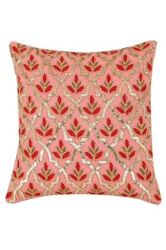 Square Floral Embellished Cushion Cover