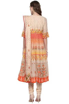 Womens Notched Collar Printed Anarkali Suit