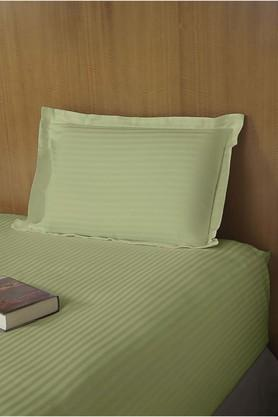 ST CLOUDGreen 320 TC Sateen Stripe Fitted Sheets (Fitted Sheet Set (Double)