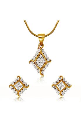 MAHIMahi Gold Plated Barfi Pendant Set With CZ For Women NL4101565G