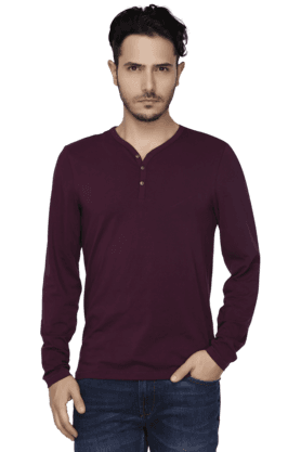 Mens Full Sleeves Slim Fit Henley Neck Solid T-Shirt