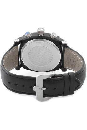Mens Black Dial Leather Chronograph Watch - R3251907125