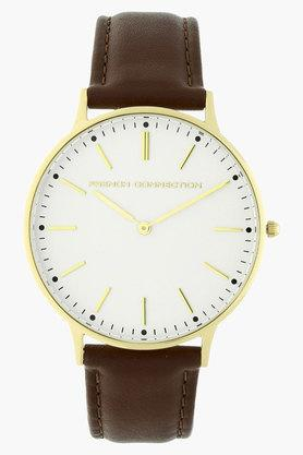 FCUK Mens White Dial Leather Strap Watch