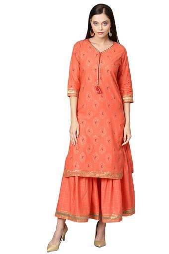 ISHIN -  PeachSalwar & Churidar Suits - Main