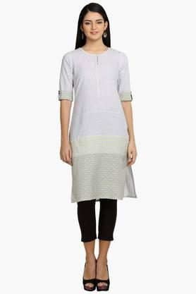 AURELIA Womens Round Neck Stripe Kurta - 202168579