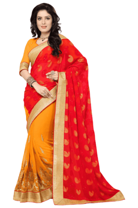 DEMARCA Women Embroidered Sarees - 200365576