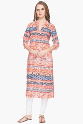 HAUTE CURRY Womens Mandarin Neck Printed Kurta - 201532634