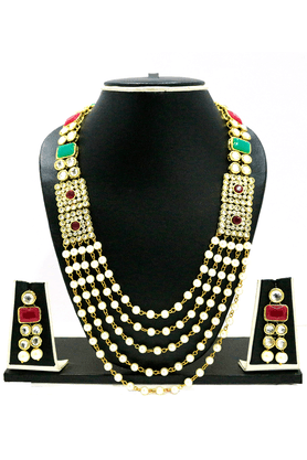ZAVERI PEARLS LONG KUNDAN & PEARL NECKLACE SET BY - ZPFK1623