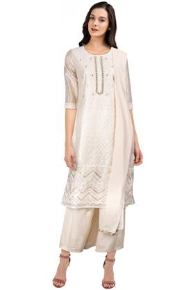 Womens Notched Collar Printed Palazzos Suit