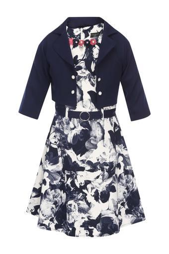Girls Round Neck Printed A-Line Dress with Jacket