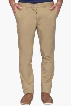 Mens Slim Fit 4 Pocket Solid Chinos (Brooklyn Fit) - 202069911