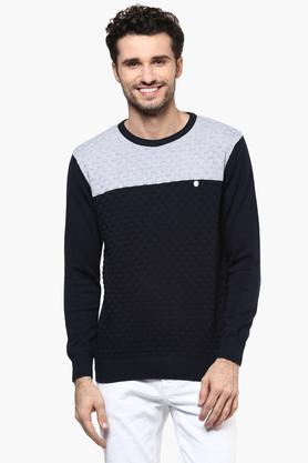 OCTAVE Mens Round Neck Colour Block Pullover