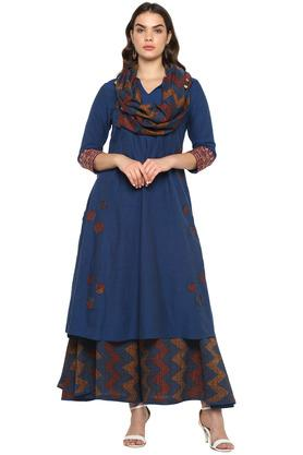 Womens Notched Collar Patch Work Kurta