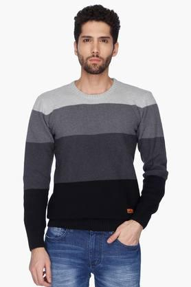 WROGNMens Round Neck Stripe Sweater