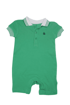 MOTHERCARE Unisex Cotton Short Sleeves Solid Polo Romper - 9389532