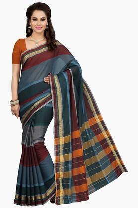 ISHINWomens Stripe Silk Saree