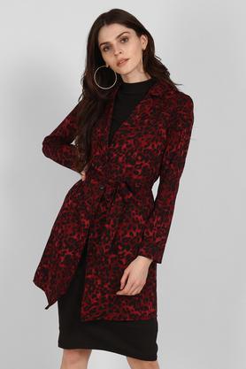 Womens Notched Lapel Printed Long Jacket