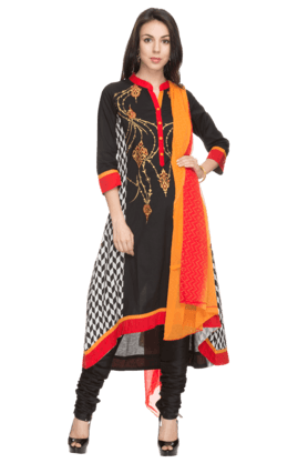 HAUTE CURRY Women Printed Churidar Suit - 201031839