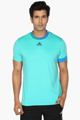 ADIDASMens Short Sleeves Round Neck Solid T-Shirt