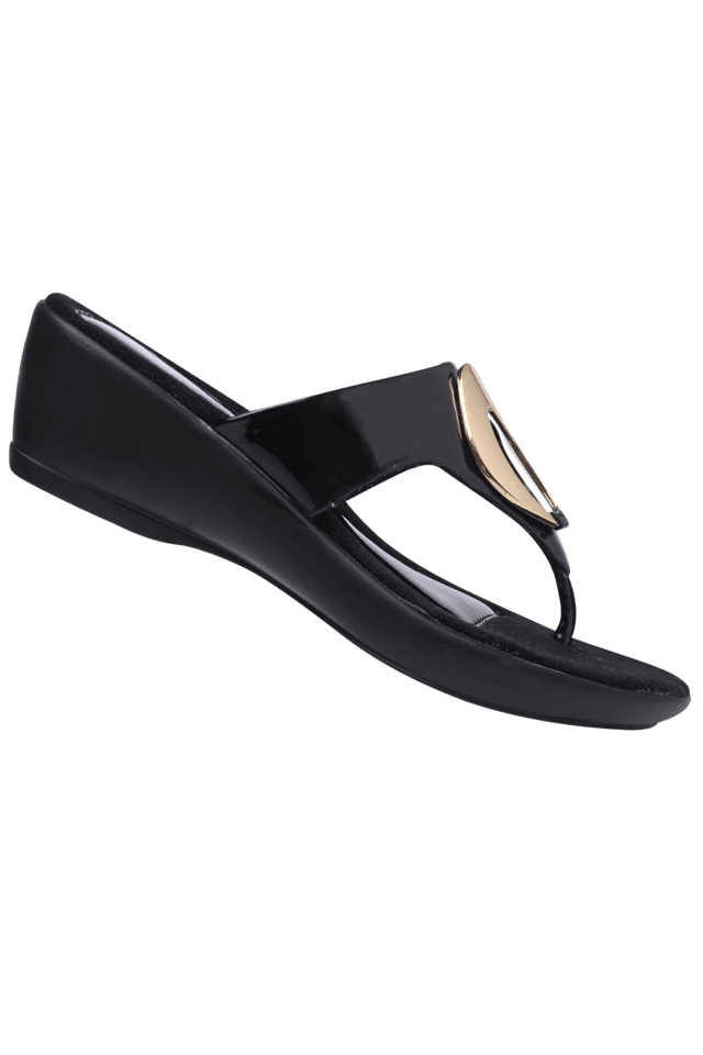 Womens Black Party Wear Slipon Wedge Sandal